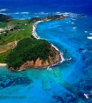 Aerial view of coast, Grenadines, Windward Islands, Grenada
