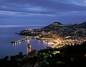 Town lit up at coast during, Funchal, Madeira Island, Portugal