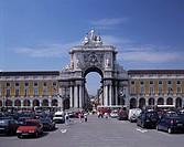 Traffic in front of ancient archway, Praca Do Comercio, Lisbon, Portugal
