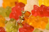 Close_up of gummy bears