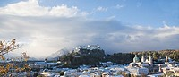 Castle on hill, Hohensalzburg Fortress, Salzburg, Austria