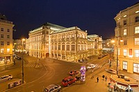 Museum and hotel lit up at night, Albertina Square, Vienna, Austria