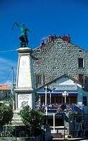 Monument in front of restaurant, Corsica, France