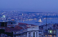 Aerial view of city lit up at night, Istanbul, Turkey