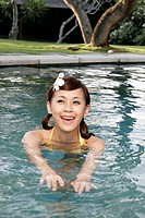 View of a teenage girl swimming