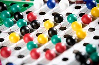 Close-up of a Chinese checkers board