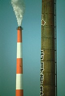 Smoke emitting from a smoke stack, Tokyo Prefecture, Japan