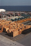 High angle view of cargo containers at a commercial dock, Yokohama, Japan