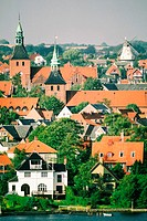 High angle view of buildings in a city, Funen County, Denmark