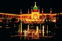 Facade of a mosque lit up at night, Tivoli Gardens, Copenhagen, Denmark