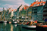 Boats in a canal in front of buildings, Copenhagen, Denmark