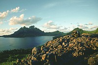 Hills at the waterfront, Bora Bora, Society Islands, French Polynesia