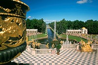 Fountains in the garden of a palace, Peterhof Grand Palace, St  Petersburg, Russia