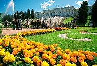 Tourists in the garden of a palace, Peterhof Grand Palace, St  Petersburg, Russia