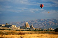 Hot air balloons in the sky, Uchisar, Cappadocia, Turkey