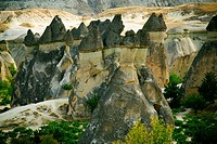 High angle view of rock formations, Fairy Chimneys, Cappadocia, Turkey