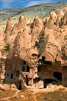 High angle view of cave dwellings, Zelve Valley, Cappadocia, Turkey