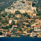 High angle view of a fort on a hill, Kale Fortress, Kekova, Antalya, Turkey