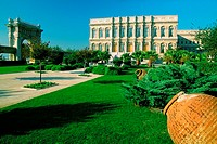 Formal garden in front of a palace, Ciragan Palace, Istanbul, Turkey