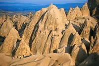 High angle view of rock formations in a valley, Urchisar, Cappadocia, Turkey