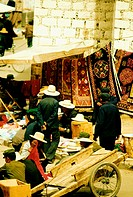 Group of people in a market, Lhasa, Tibet, China