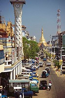 High angle view of traffic on the road, Yangon, Myanmar
