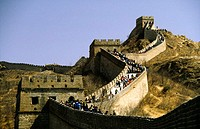 Low angle view of tourists on the Great Wall of China, Beijing, China