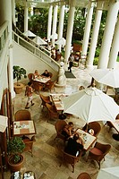 High angle view of tourists in a restaurant, Koh samui, Thailand