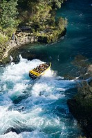 New Zealand, North Island, Waikato River, near Taupo, Rapids Jet _ aerial