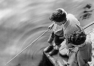 little boys fishing, 1940