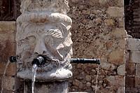 europe, italy, abruzzo, fontecchio, medieval fountain