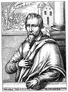 Michael Servetus 1511-1553 Spanish physician and theologian  Portrait from biography published 1727  Escaped Catholic Inquisitor General at Lyon, but ...