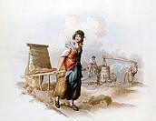 Brickfield: Horse-powered pug mill grinding clay  Woman with hack barrow for transporting green bricks to clamps to dry out before firing  From Willia...