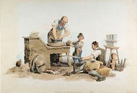 Making flower pots: wheel turned by assistant using crank: small boy supplying potter with lumps of clay  From William Henry Pyne ´Costume of Great Br...