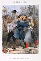 Illustration depicting a scene from the Paris Commune, 1871