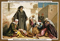 Chomolithograph,19th Century, depicting 1895 death of a Franciscan monk during the Massacre of Armenians at the hands of the Ottoman Turks