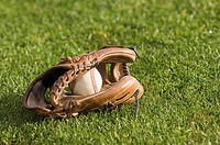 Baseball in a glove on grass
