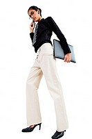 Business woman using mobile phone, carrying folder, looking at camera, low angle view