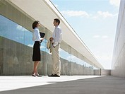 Businessman and woman in dicussion outdoors, ground view