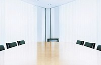 Empty boardroom, view across table