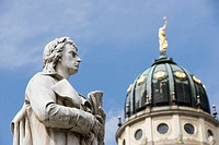Germany, Berlin, Friedrich Schiller statue by cathedral