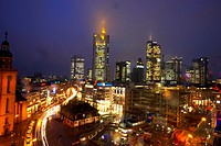 Germany, Frankfurt, skyline, elevated view, night, long exposure,