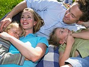 Family lying on blanket, outdoors, elevated view