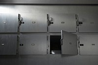 Morgue in hospital, low angle view