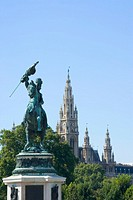 Austria, Vienna, Statue of archduke Karl, town hall in background