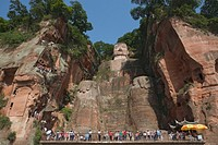 China, Sichuan Province, Leshan, Grand Buddha Da Fo, low angle view