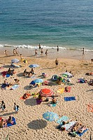 Canos de Meca, Andalucia, Spain. Crowded beach with bar