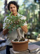 Mature man tending to bonsai tree