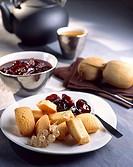 almond sponge fingers and plum jam