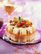 ice cream, nougat and candied fruit charlotte